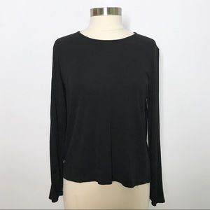 Eileen Fisher Black 100% Silk Long Sleeve Top PL